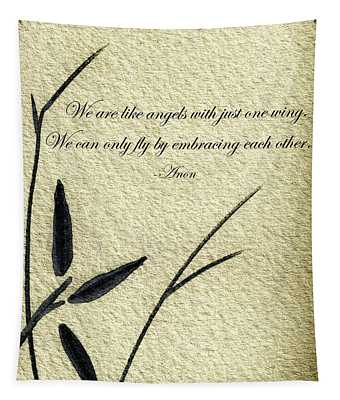 Zen Sumi 4d Antique Motivational Flower Ink On Watercolor Paper By Ricardos Tapestry