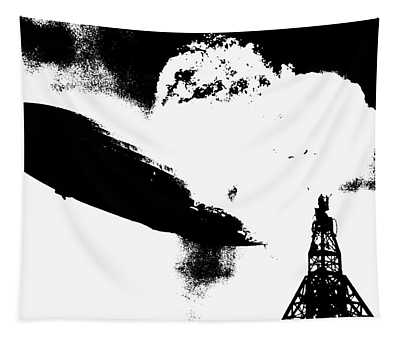 Zeppelin Hindenburg Explosion Graphic Tapestry