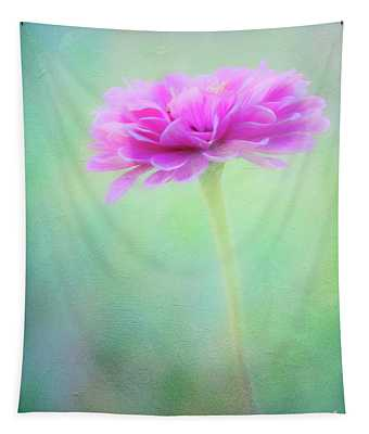 Painted Pink Zinnia Tapestry