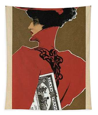 Zlata Praha - Czech Weekly Illustrated Newspaper - Vintage Advertising Poster Tapestry