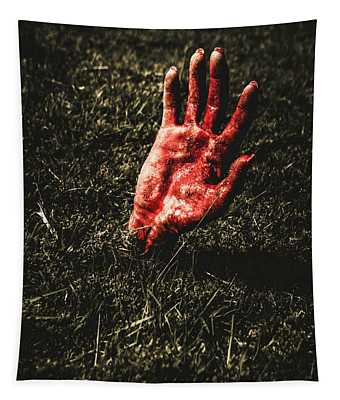 Zombie Rising From A Shallow Grave Tapestry