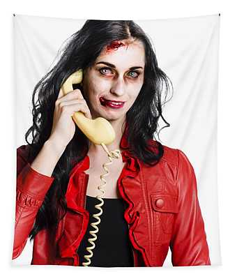 Zombie Woman On Telephone Tapestry