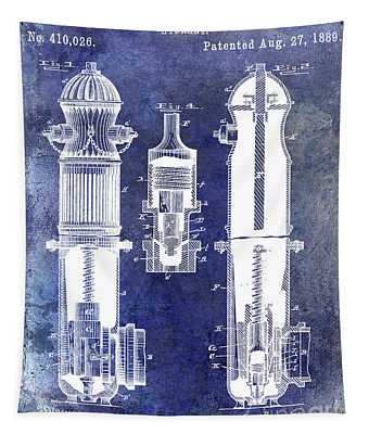1889 Fire Hydrant Patent Blue Tapestry