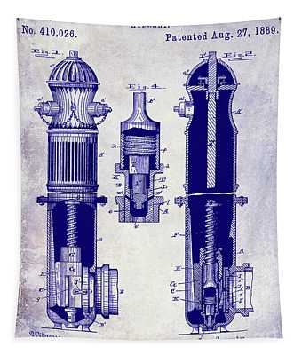 1889 Fire Hydrant Patent Blueprint Tapestry