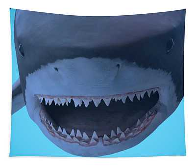 A Portrait Of The Jaws Of A Great White Shark  Tapestry