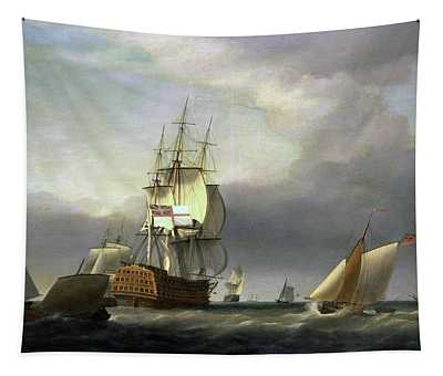 A Seascape With Men-of-war And Small Craft Tapestry