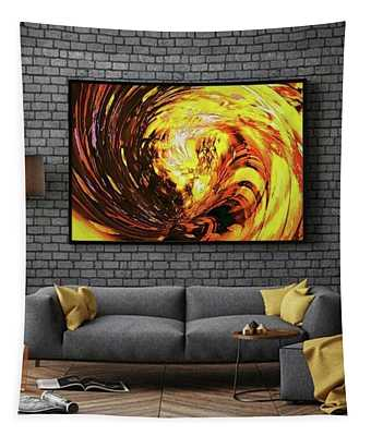 Abstract Gold Swirl Tapestry