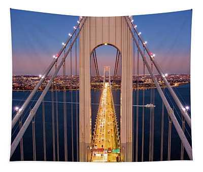 Aerial View Of Verrazzano Narrows Bridge Tapestry