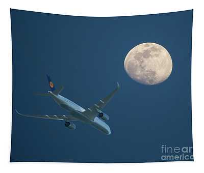Airliner And Full Moon Tapestry