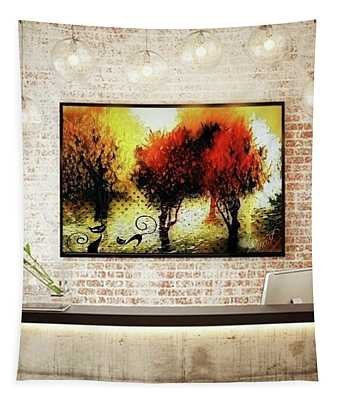 Autumn With Cat Focus Tapestry
