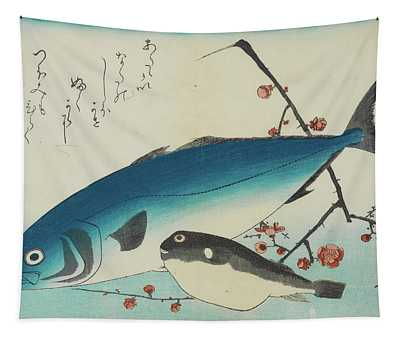 Bonito, Globefish And A Spray Of Blossoming Plum, 19th Century Tapestry