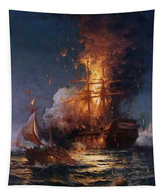 Burning Of The Frigate Philadelphia In The Harbor Of Tripoli Tapestry