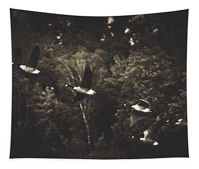 Canadian Geese In Flight Tapestry