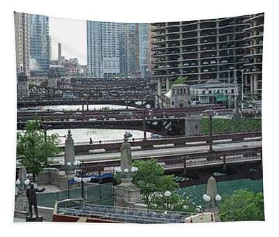 Chicago River Panorama Tapestry