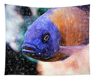 Colored Pencil Red Fin Borleyi Cichlid Tapestry
