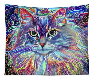 Colorful Long Haired Cat Art Tapestry