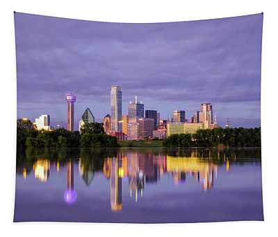 Dallas Texas Cityscape Reflection Tapestry