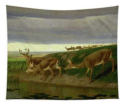 Deer On The Prairie Tapestry
