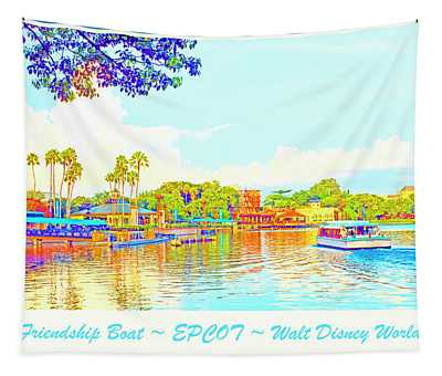 Friendship Boat Epcot Lagoon At Sunset Tapestry