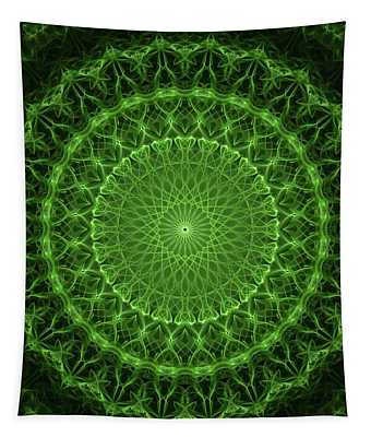 Glowing Green Mandala  Tapestry