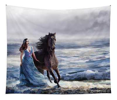 Lady In Blue Tapestry