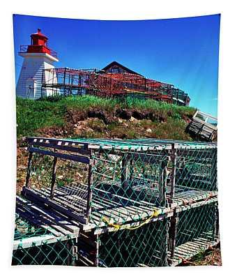 Lobster Traps Neils Harbour Lightstation Tapestry