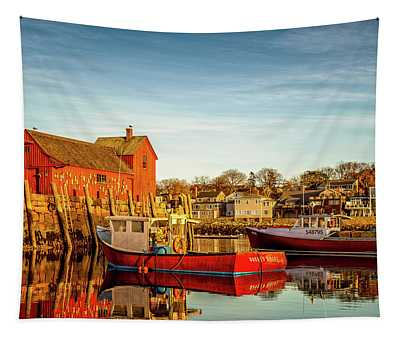 Low Tide And Lobster Boats At Motif #1 Tapestry