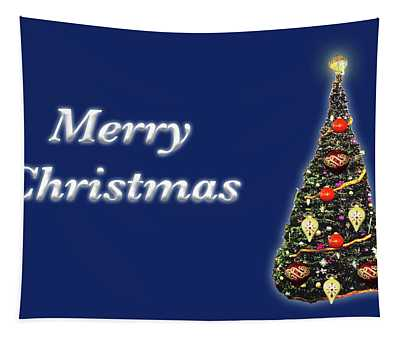 Merry Christmas Tree Blue Tapestry
