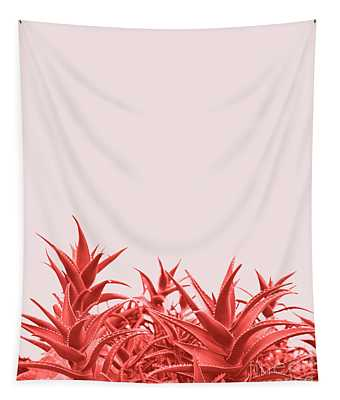 Minimal Contemporary Creative Design With Aloe Plant In Coral Co Tapestry