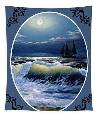 Moonlit Waves - Oval Tapestry