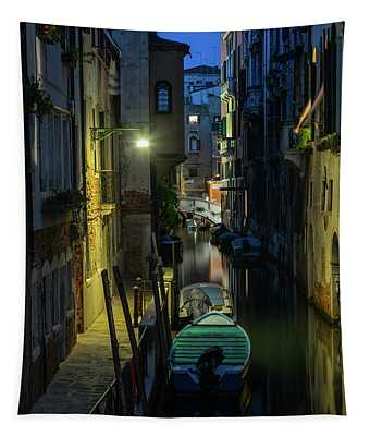 Tapestry featuring the photograph Night Walk In Venice by Jaroslaw Blaminsky