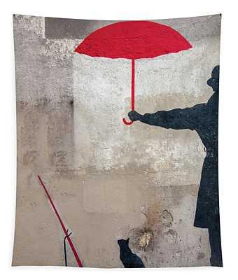 Paris Graffiti Man With Red Umbrella Tapestry