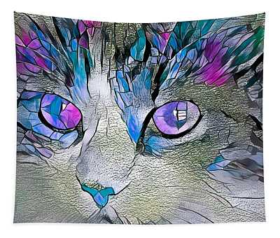 Purple Stained Glass Kitty Tapestry