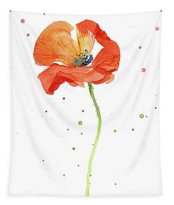 Red Poppy Flower Tapestry