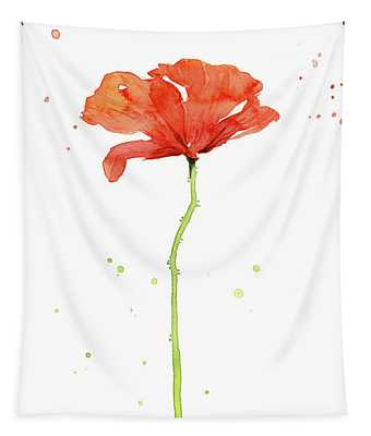 Red Poppy Watercolor Tapestry