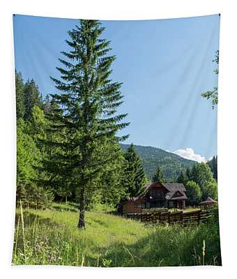 Romania Carpathian Mountain Holiday Chalet - Fairytale Paysage Tapestry