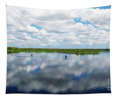 Skyscape Reflections Blue Cypress Marsh Near Vero Beach Florida C6 Tapestry
