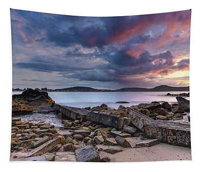 Stormy Sunrise Seascape Tapestry