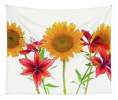 Sunflowers And Lilies Against White Tapestry