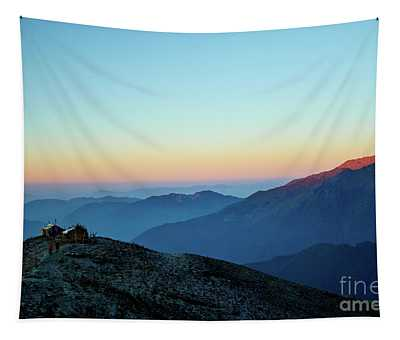 Sunrise Above Mountain In Valley Himalayas Mountains Mardi Himal Tapestry