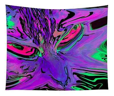 Super Duper Crazy Cat Purple Tapestry