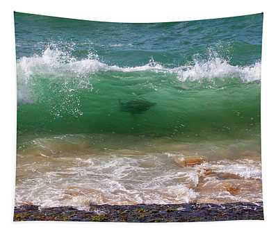 Surfing Turtle Tapestry