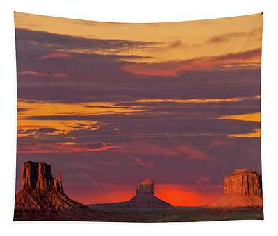 The Mittens And Merrick Butte At Sunset Tapestry
