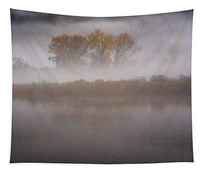 Trees In Fog Tapestry