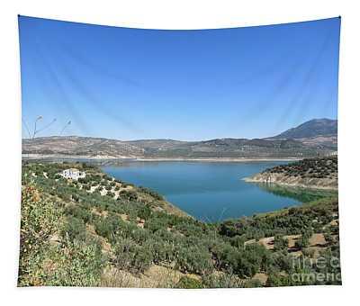 View On The Lake Near Iznajar Tapestry