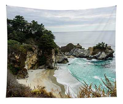 Views Of The Cove In Which The Mcway Falls Is Located In Big Sur, California, Usa. Tapestry
