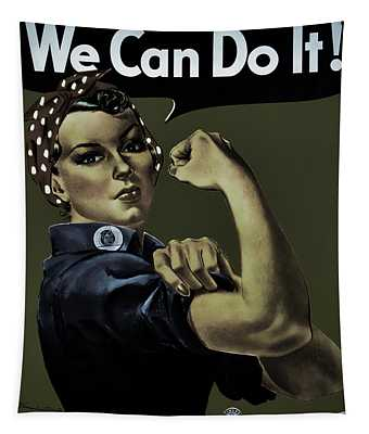 Vintage Image Of The Rosie The Riveter War Poster Tapestry