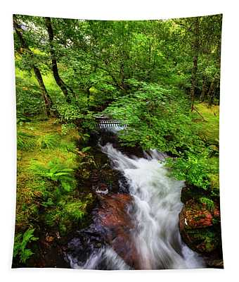 Waterfall In The Forest Tapestry