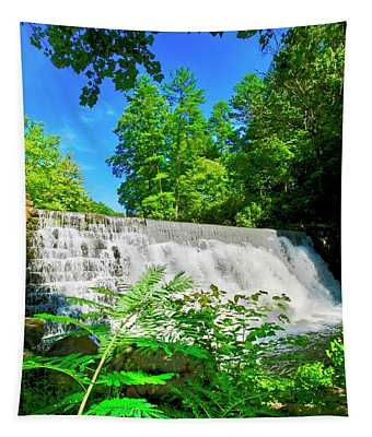 Waterfall Over Weir Dam Blue Ridge Parkway Virginia Tapestry