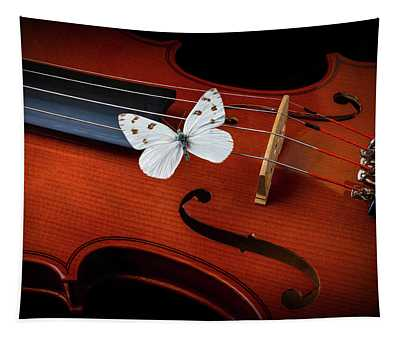 White Butterfly Resting On Strings Tapestry